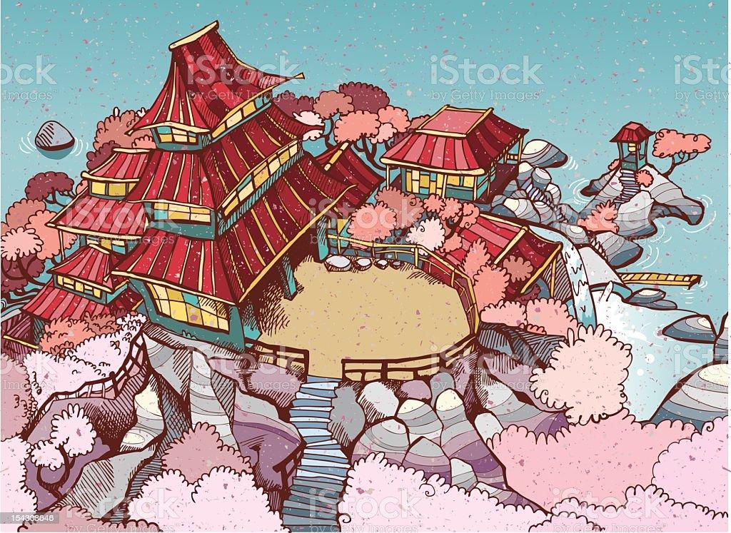Japanese village royalty-free stock vector art