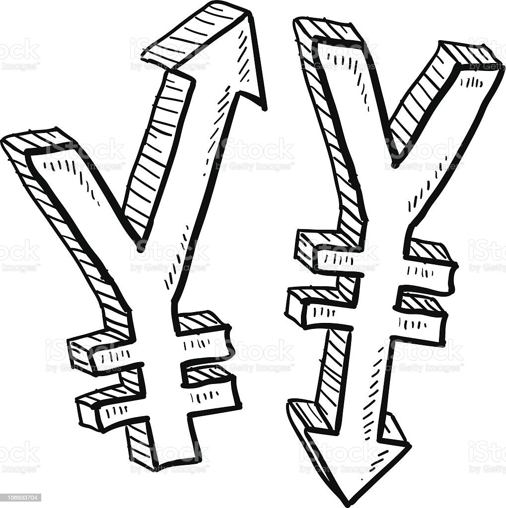 Japanese Yen currency value sketch vector art illustration