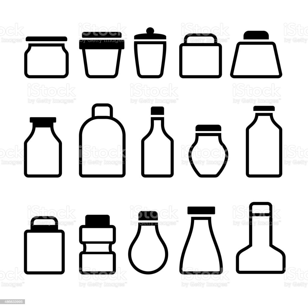 Jar Icons Set. Black Silhouette on White Background. Vector royalty-free stock vector art