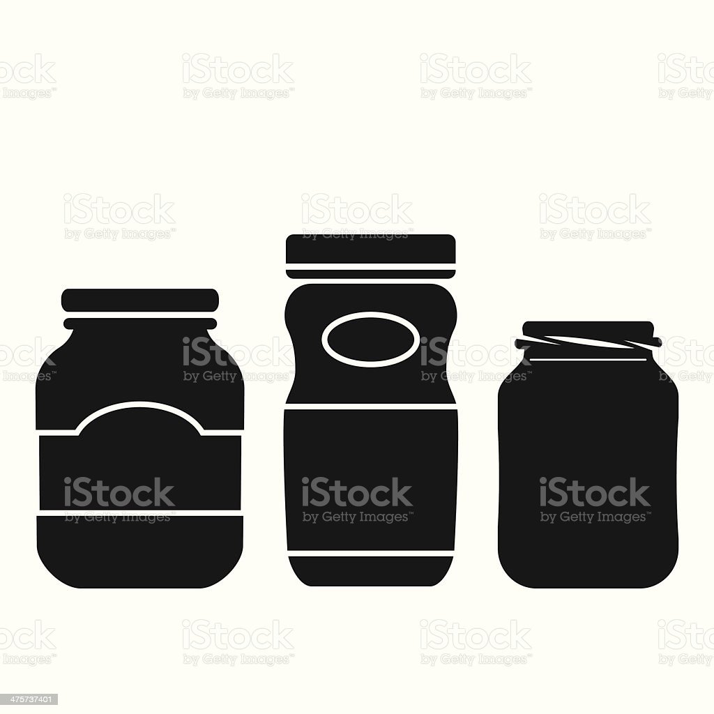 Jar Icons Set vector art illustration