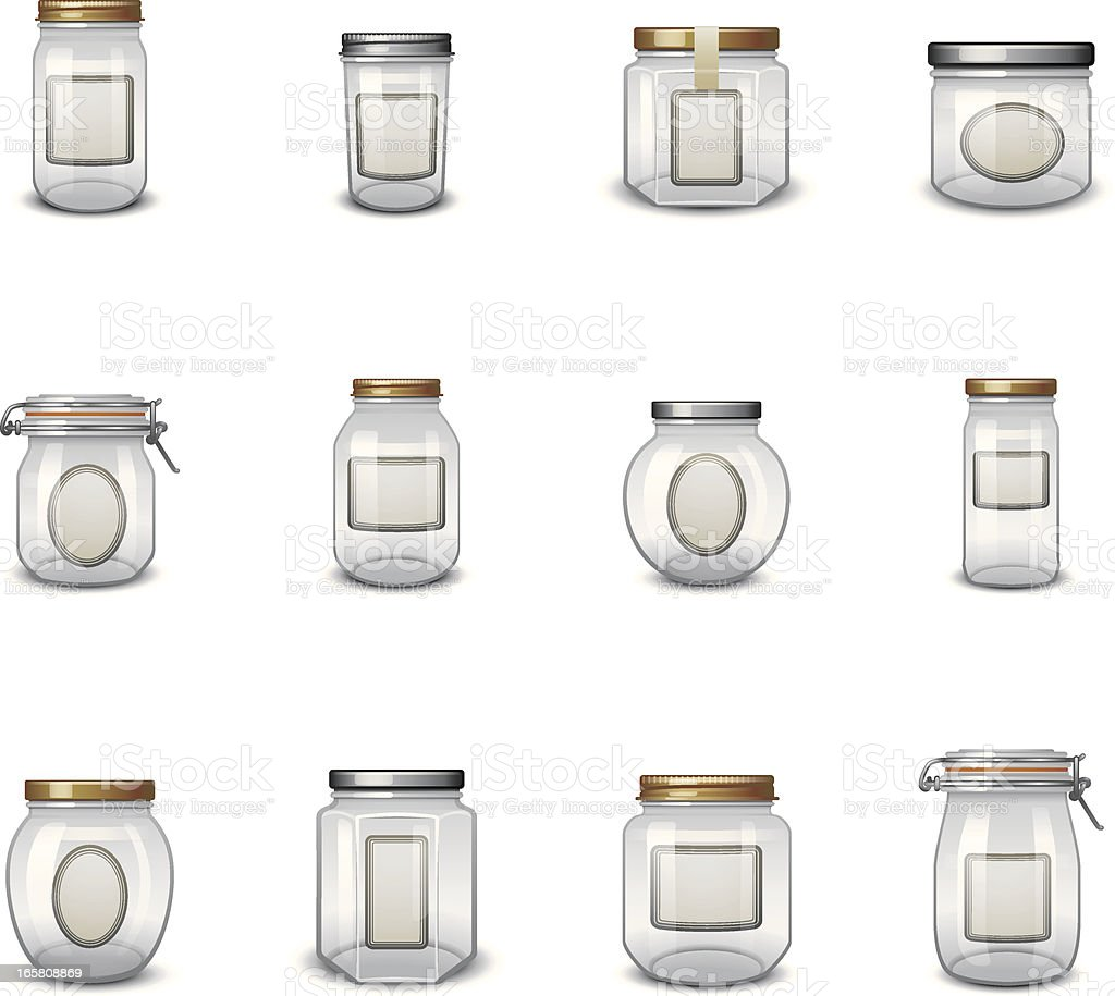 Jar Icons with Labels vector art illustration