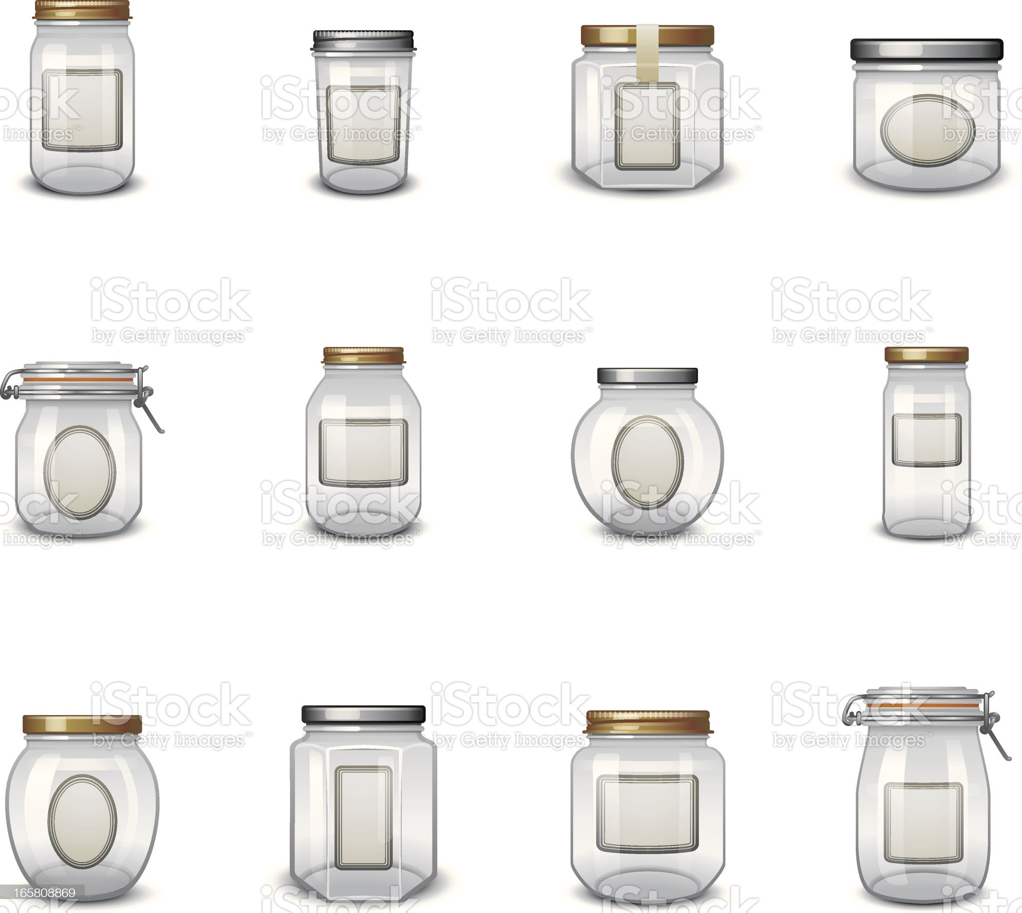 Jar Icons with Labels royalty-free stock vector art