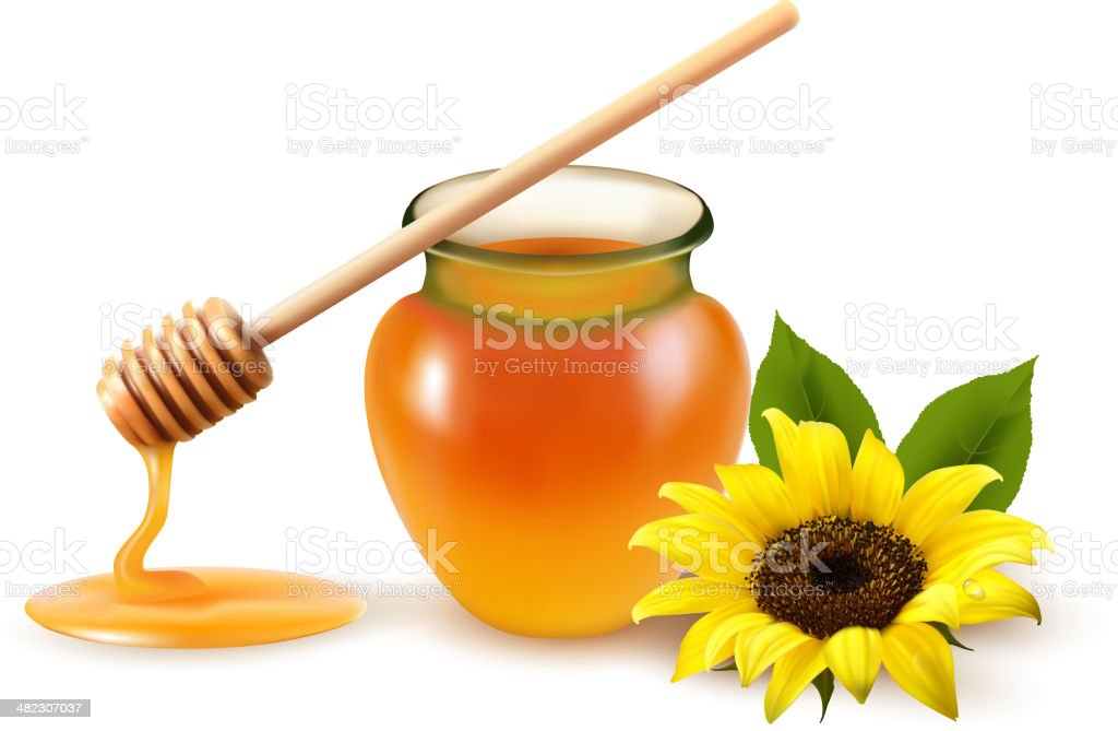 Jar of honey and a dipstick with yellow flower. vector art illustration
