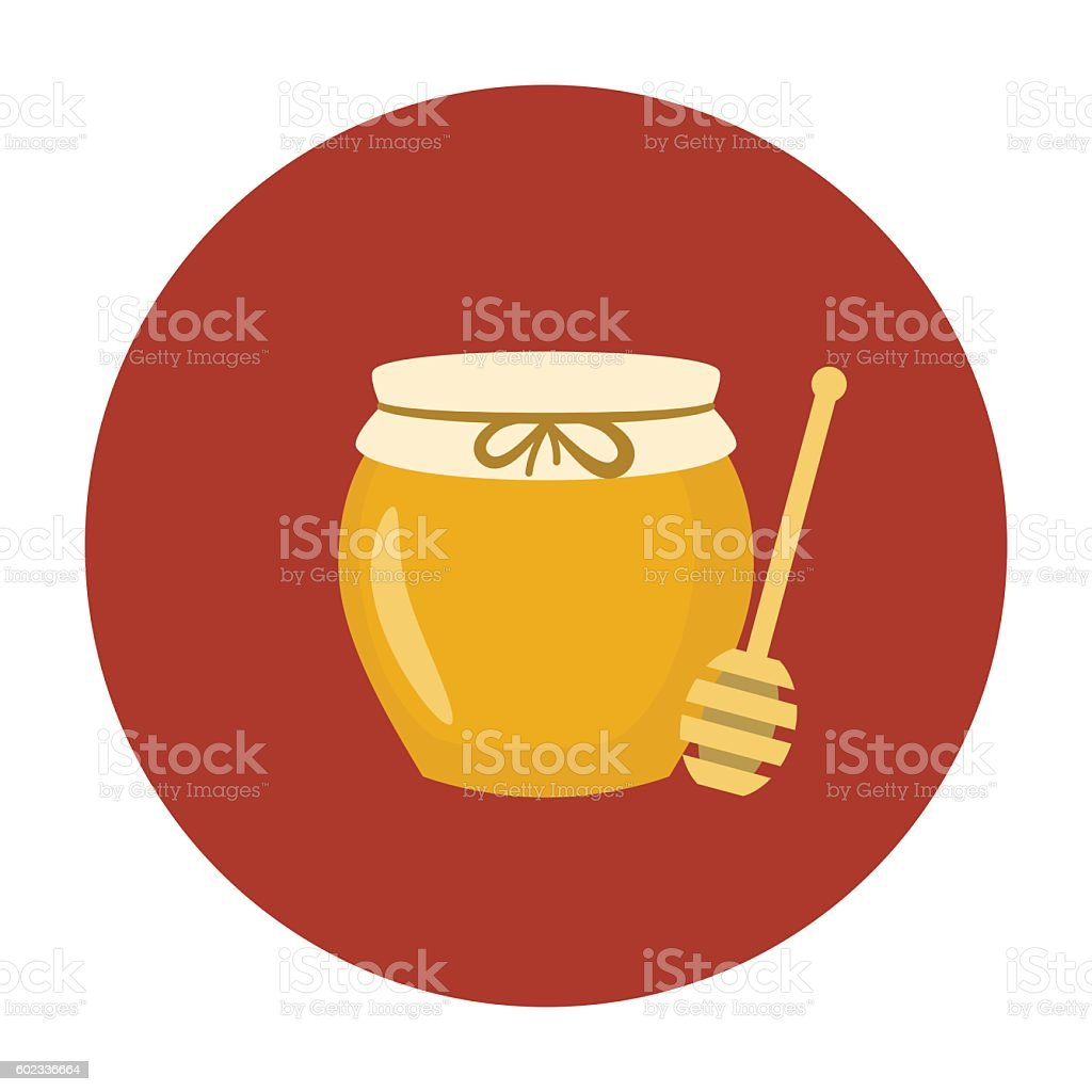 Jar of honey with wooden stick vector art illustration