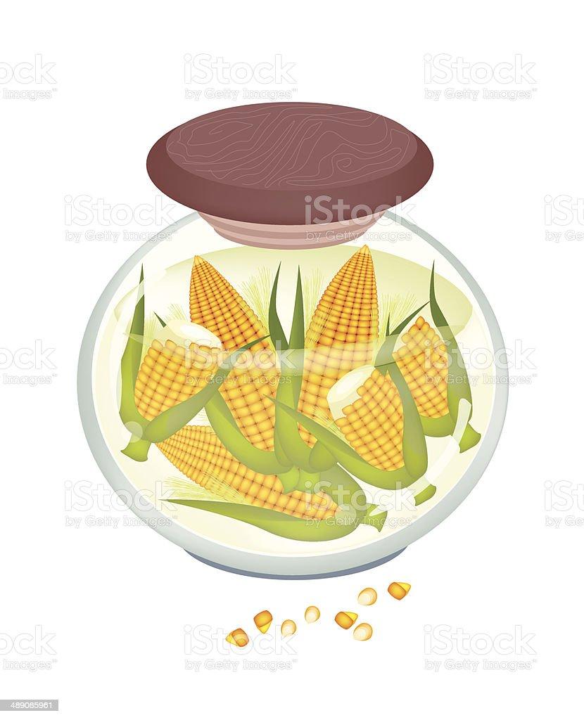 Jar of Yellow Sweet Corns in Brine royalty-free stock vector art