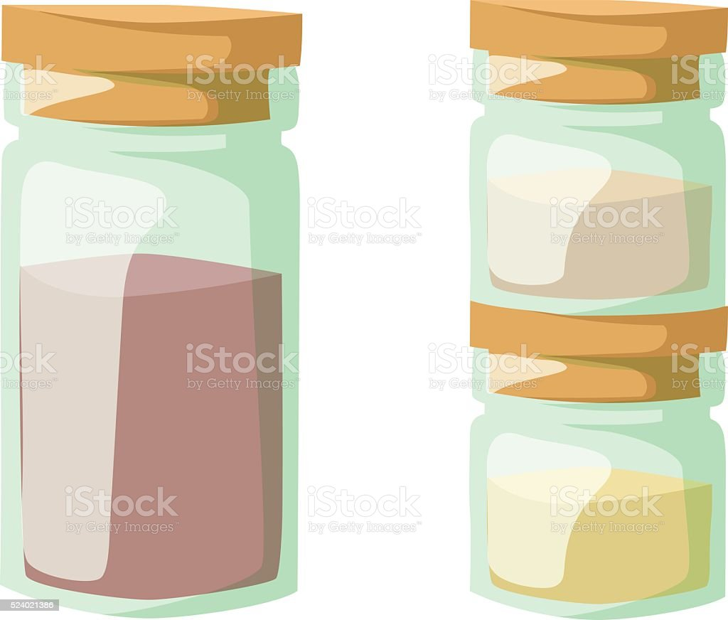 Jar with cooking spices and ingredients, pepper, garlic, paprika, curry vector art illustration