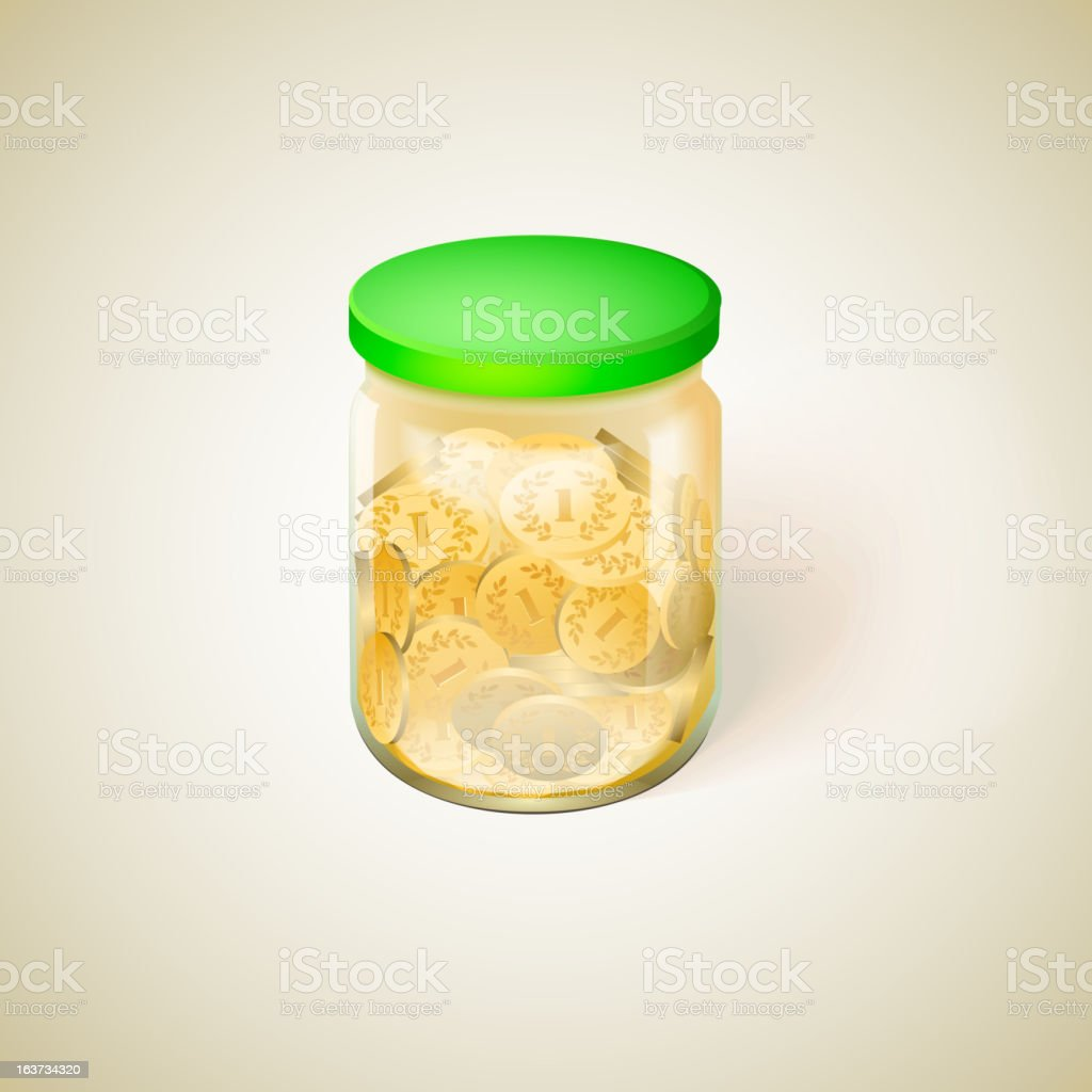 Jar with golden money coins vector illustration royalty-free stock vector art