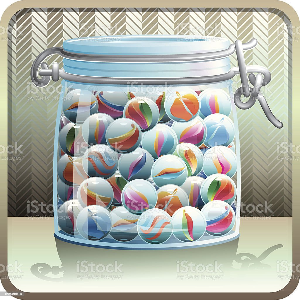 Jar with Marbles vector art illustration