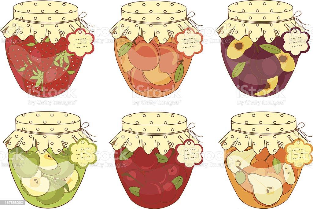 Jars of jam royalty-free stock vector art