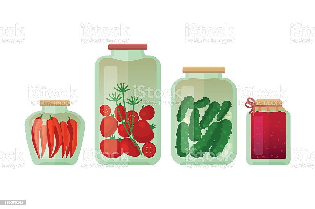 Jars of pickled vegetables isolated vector art illustration