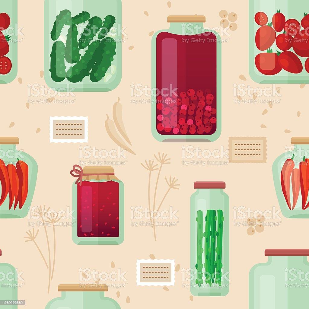 Jars seamless pattern vector art illustration