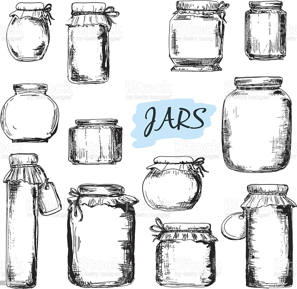 Jars. Set of illustrations vector art illustration