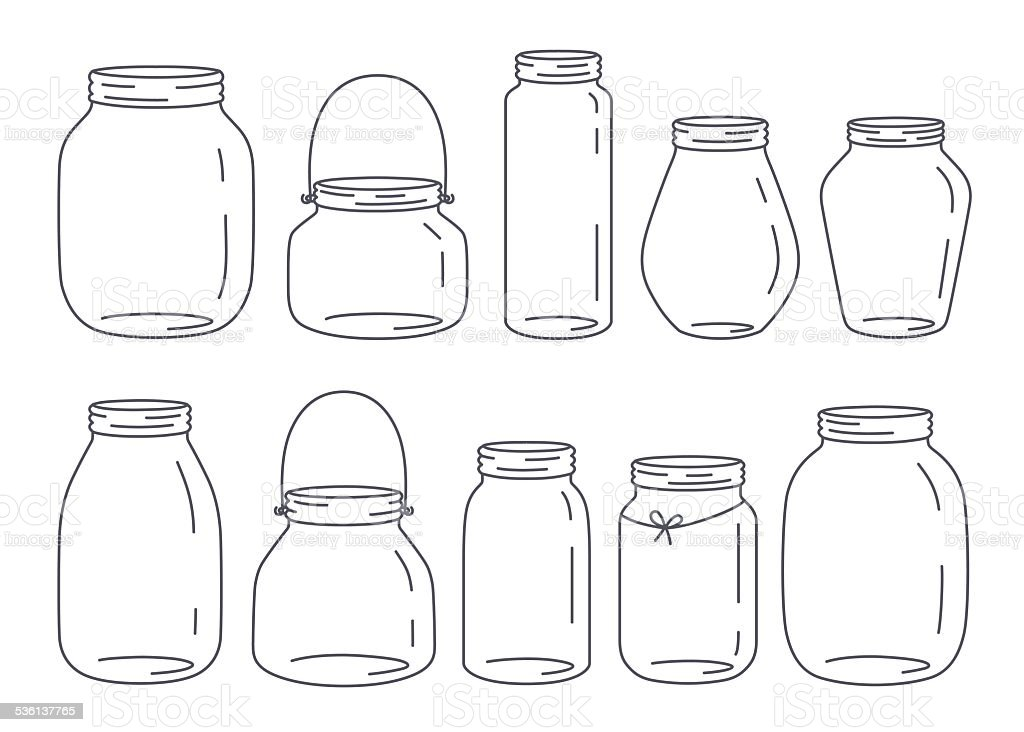 Jars set vector art illustration