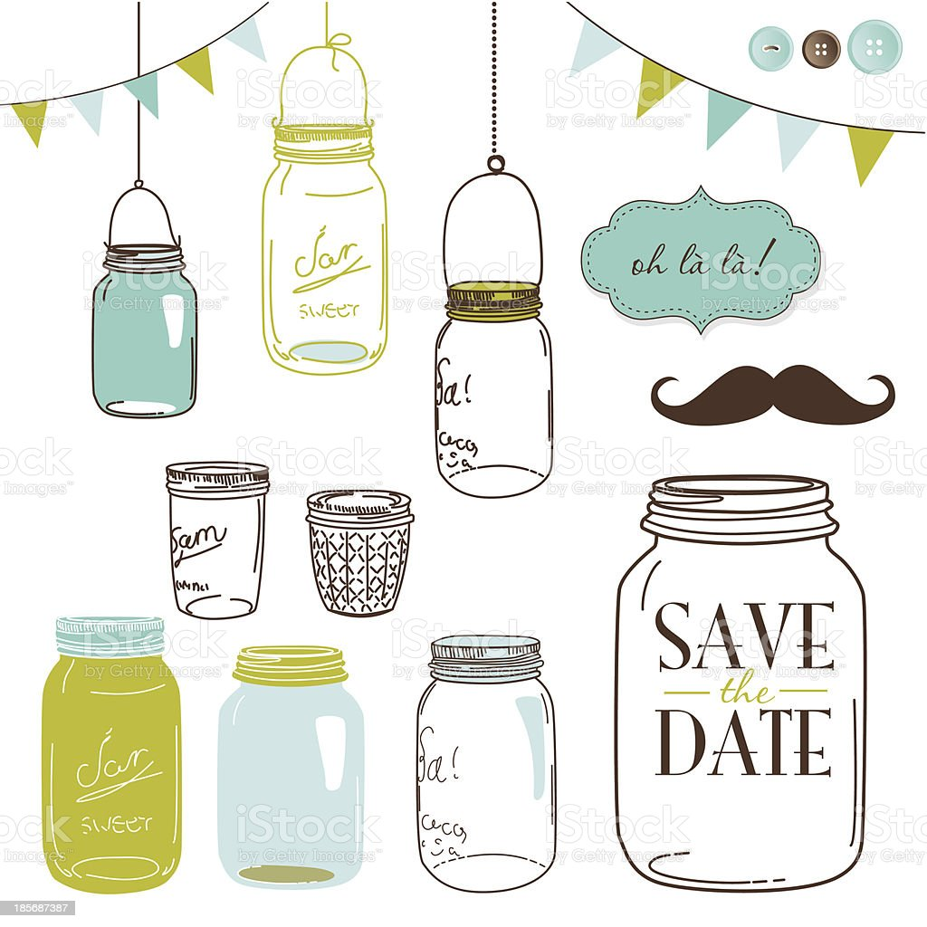 Jars vector art illustration
