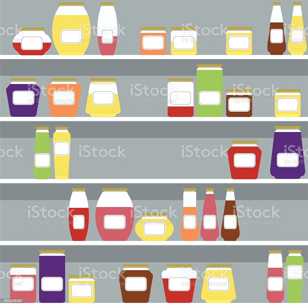 jars with honey and jam in front of blue wall vector art illustration