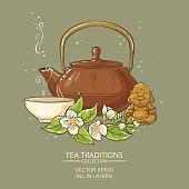 jasmine tea vector illustration