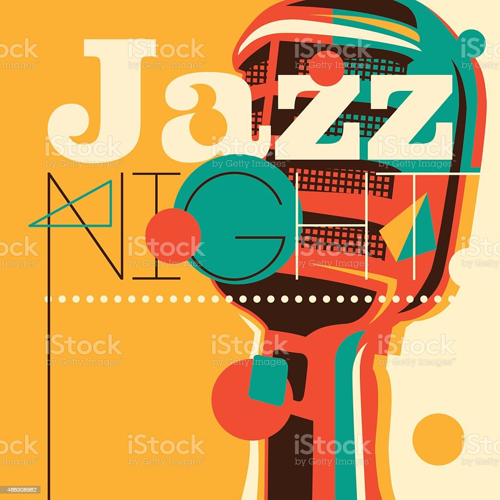 Jazz background with retro microphone. vector art illustration