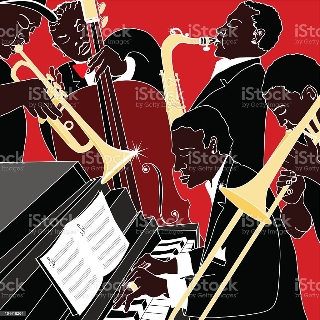 Jazz band illustration against red background royalty-free stock vector art