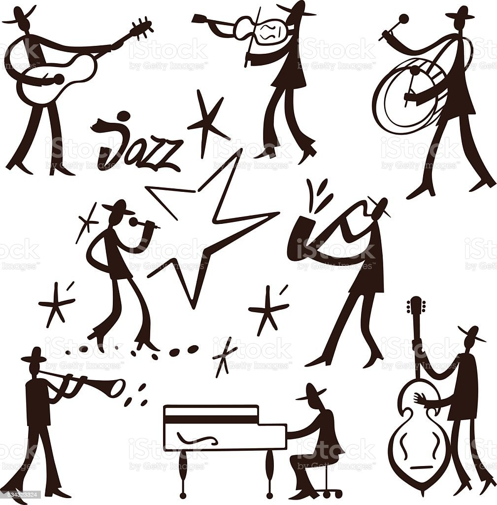 Jazz band musicians vector art illustration