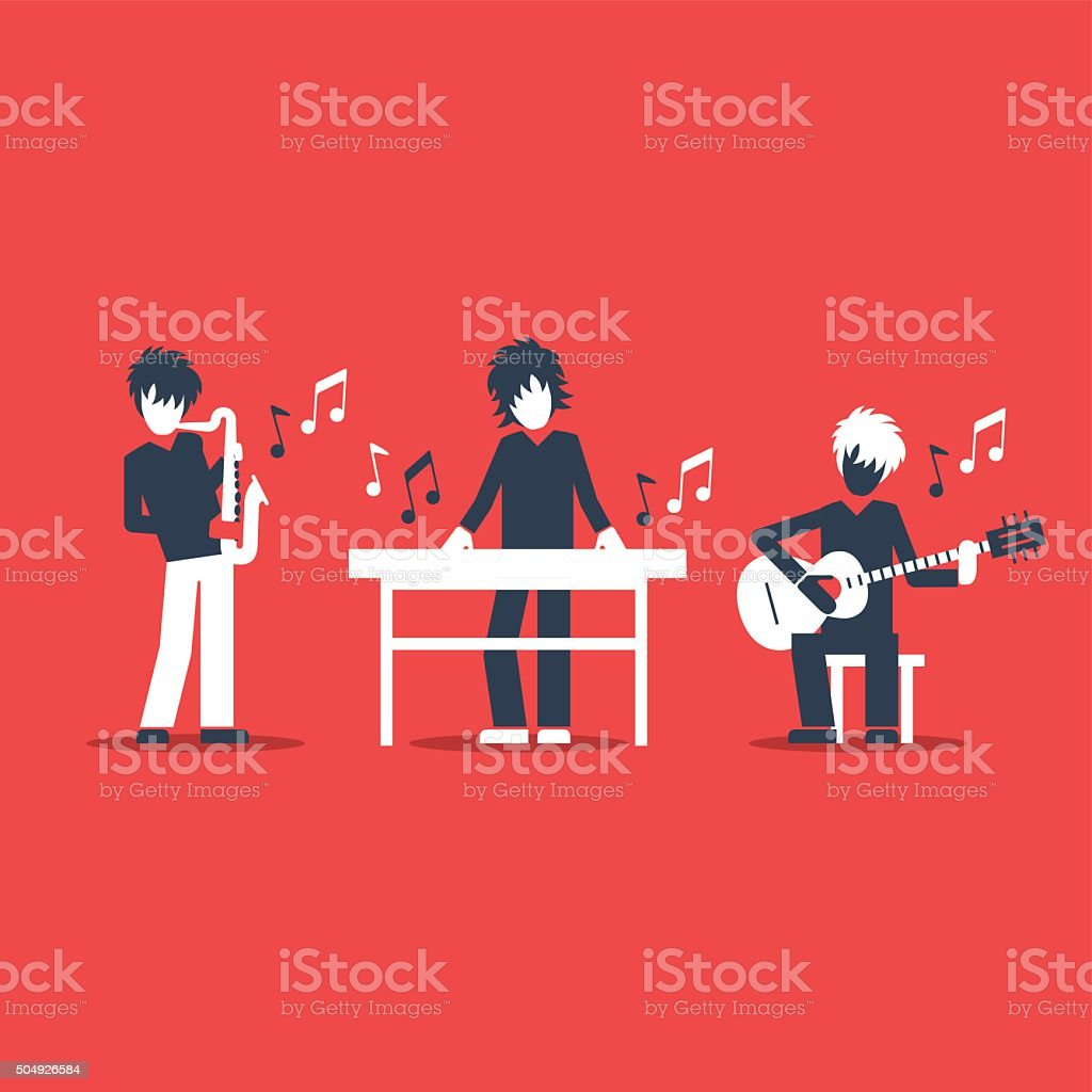 Jazz band performance vector art illustration