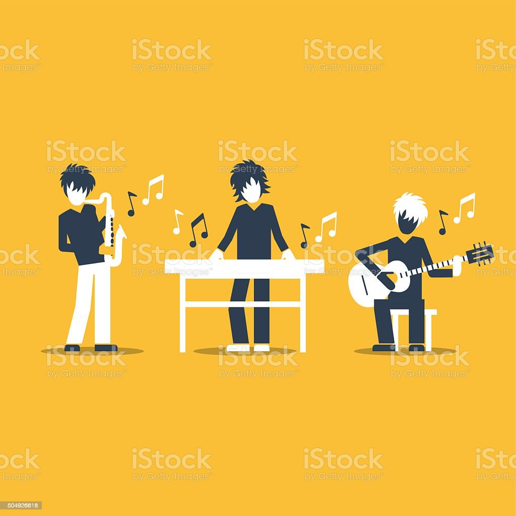 Jazz band performance. vector art illustration