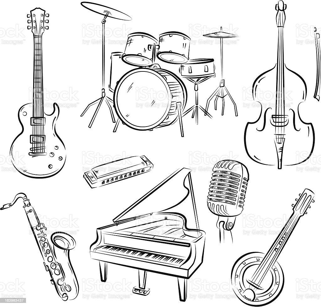 Jazz band set vector art illustration