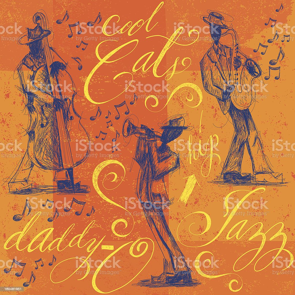 Jazz band with calligraphy vector art illustration