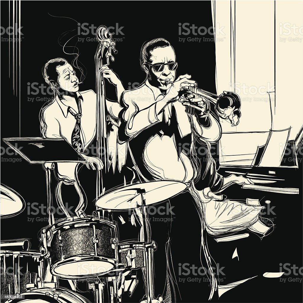 Jazz band with double-bass trumpet piano and drum royalty-free stock vector art