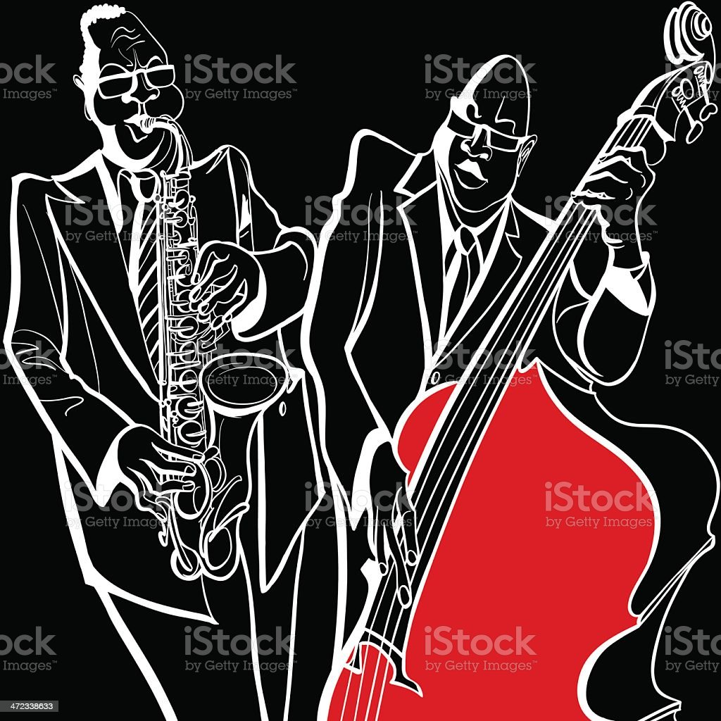 Jazz band with saxophone and double bass royalty-free stock vector art