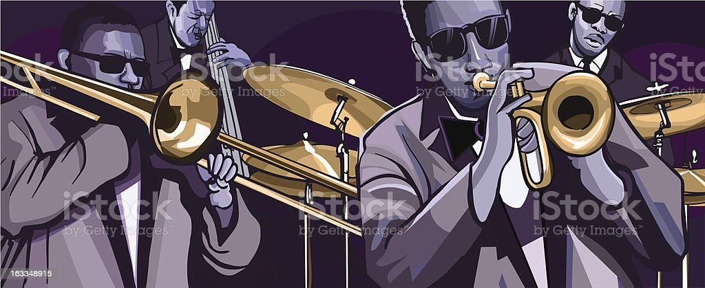jazz band with trombone trumpet double bass and drum royalty-free stock vector art