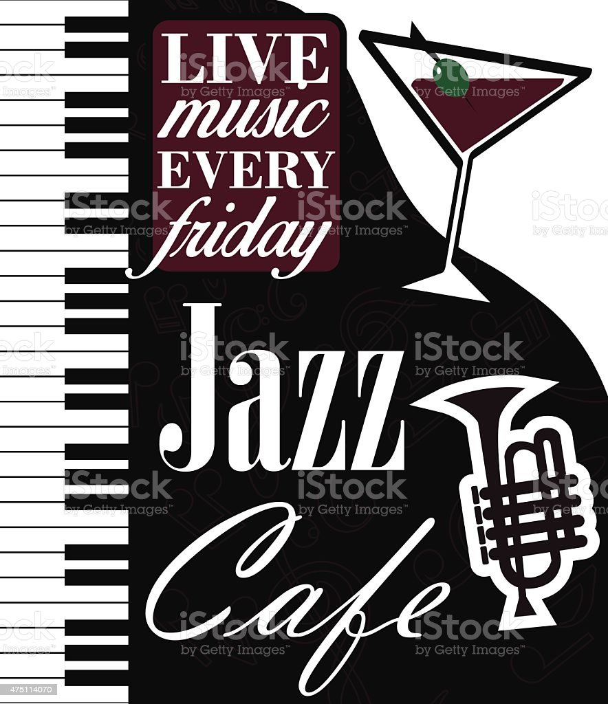 Jazz Cafe Vector Poster vector art illustration