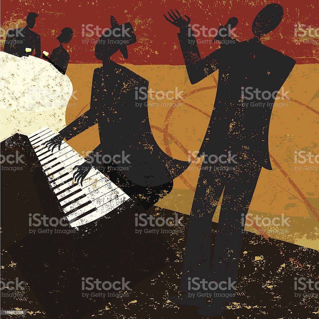 Jazz club singer vector art illustration