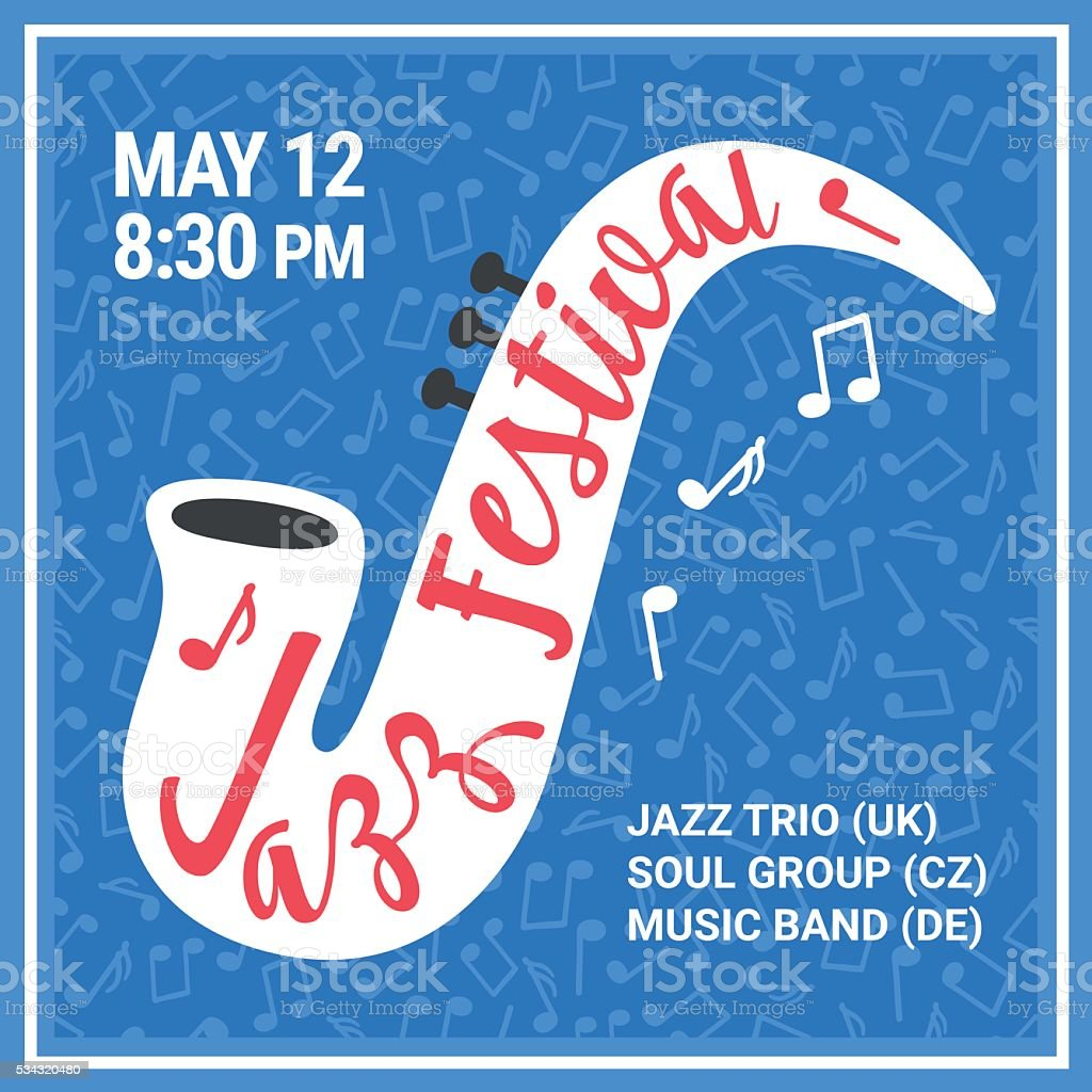 Jazz festival poster with saxophone. Seamless background with notes vector art illustration
