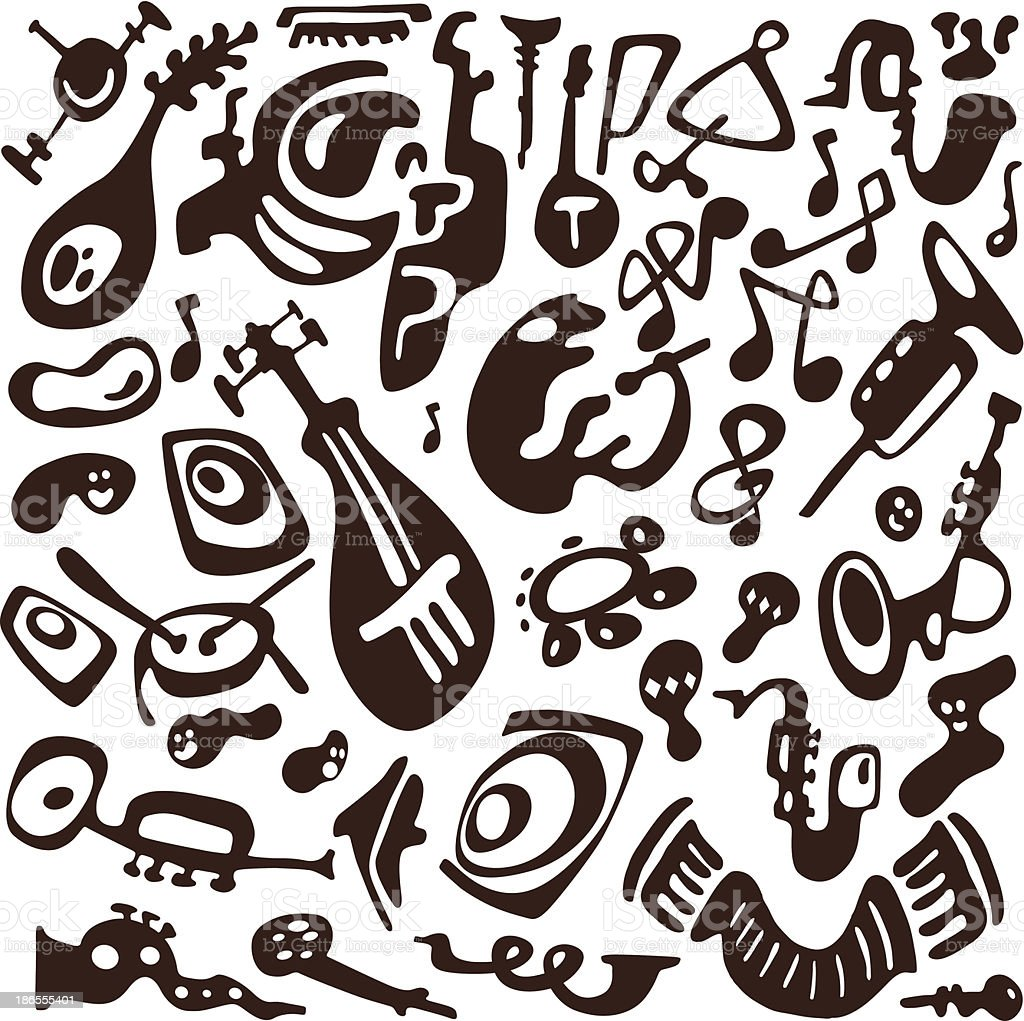 jazz instruments doodles royalty-free stock vector art