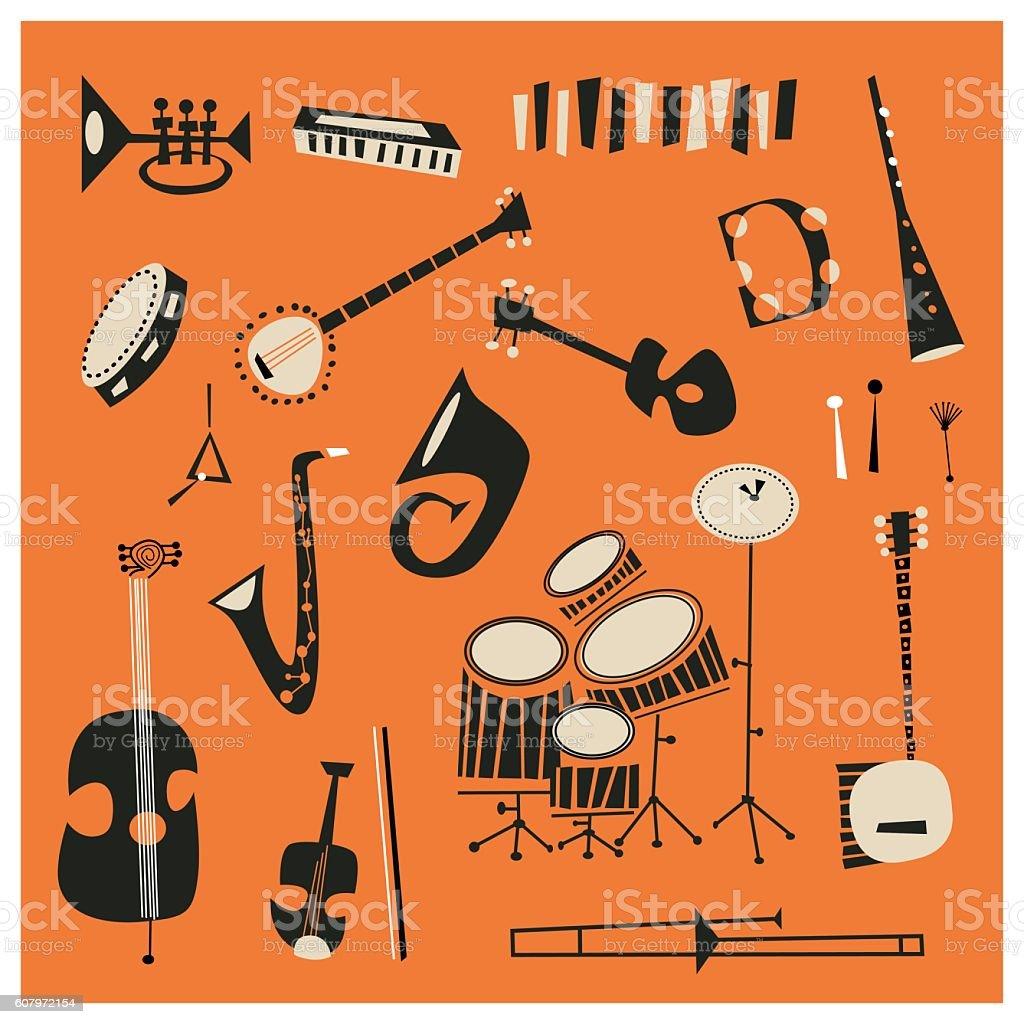 Jazz Instruments vector art illustration