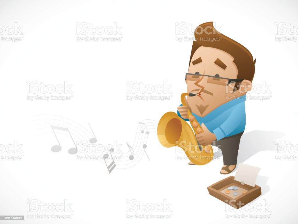 Jazz Man Busker plays Saxophone vector art illustration