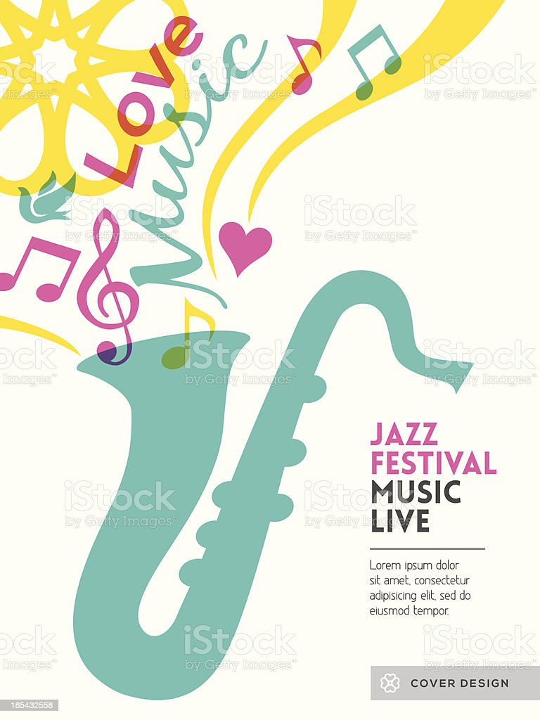 Jazz music festival graphic design Poster background template layout vector art illustration