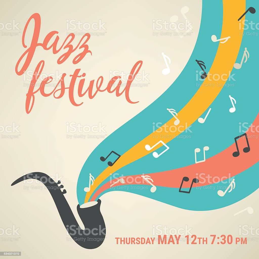 Jazz music festival. Poster template. Saxophone with notes vector art illustration