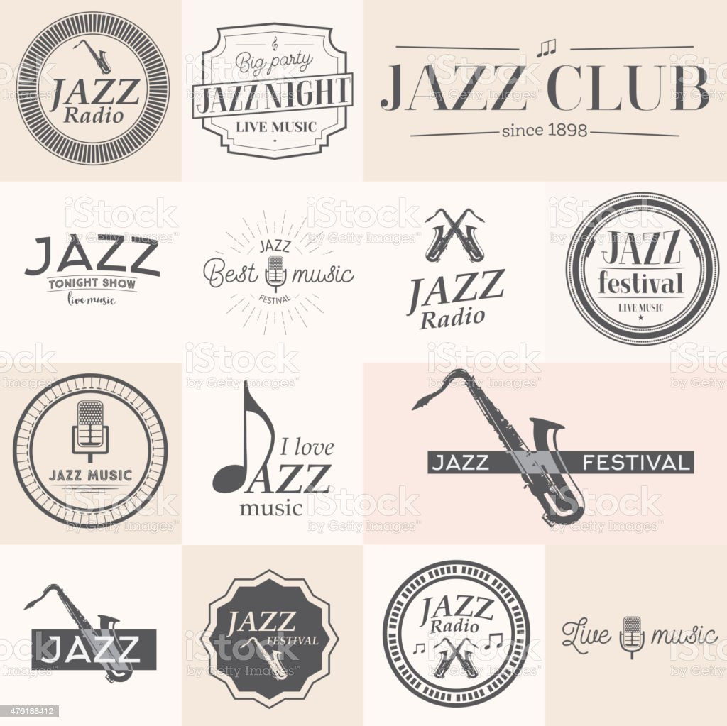 Jazz music labels vector art illustration