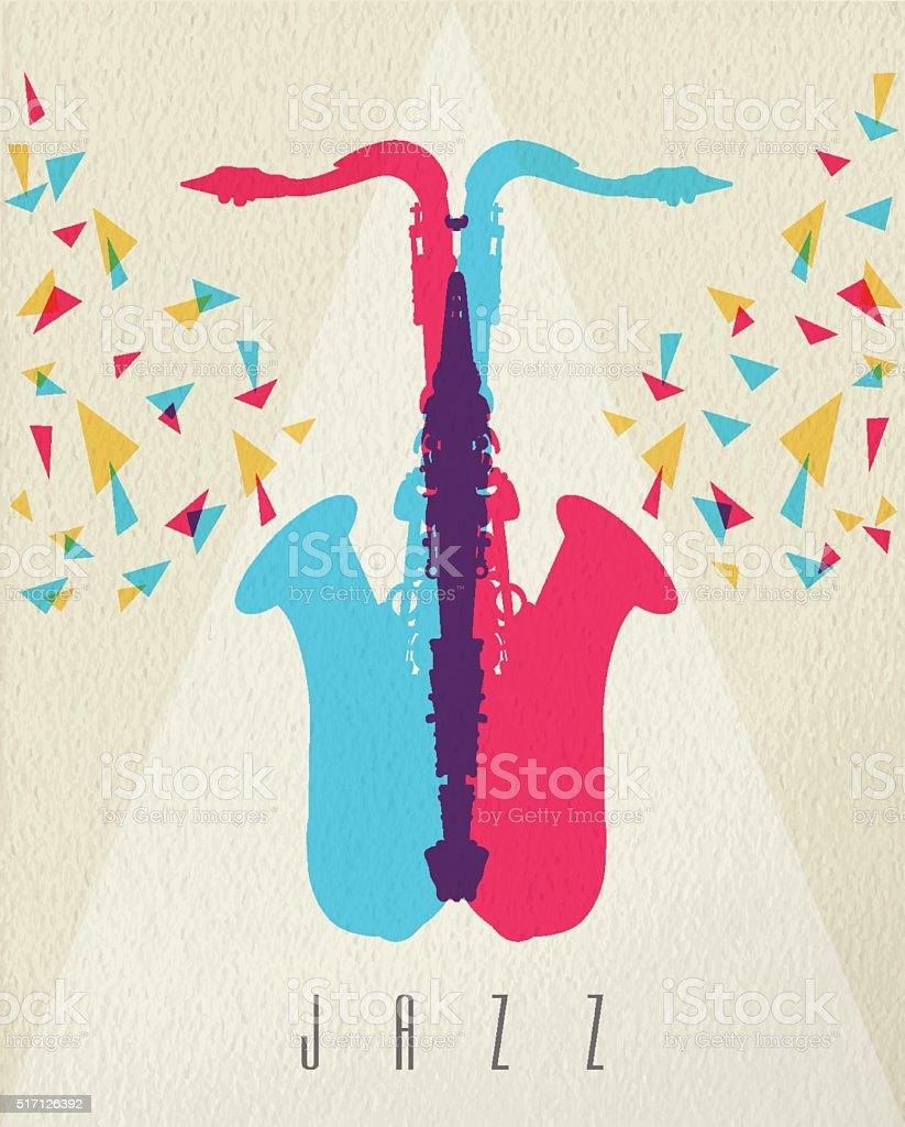 Jazz music saxophone band color concept design vector art illustration