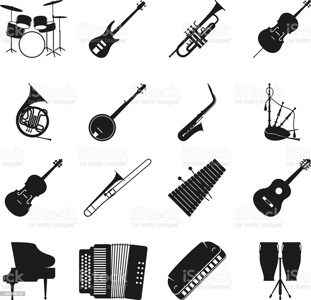 Jazz musical instrument silhouettes vector art illustration