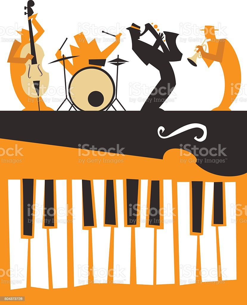 Jazz Musicians silhouettes with keyboard vector art illustration