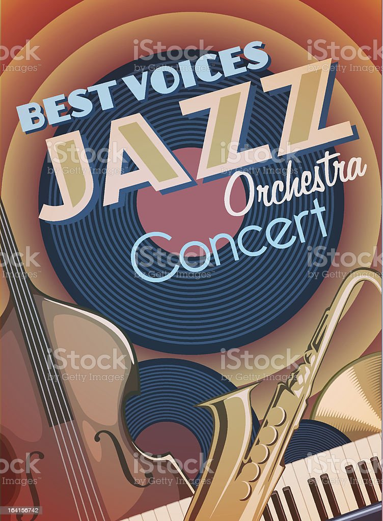 Jazz orchastra concert vector art illustration