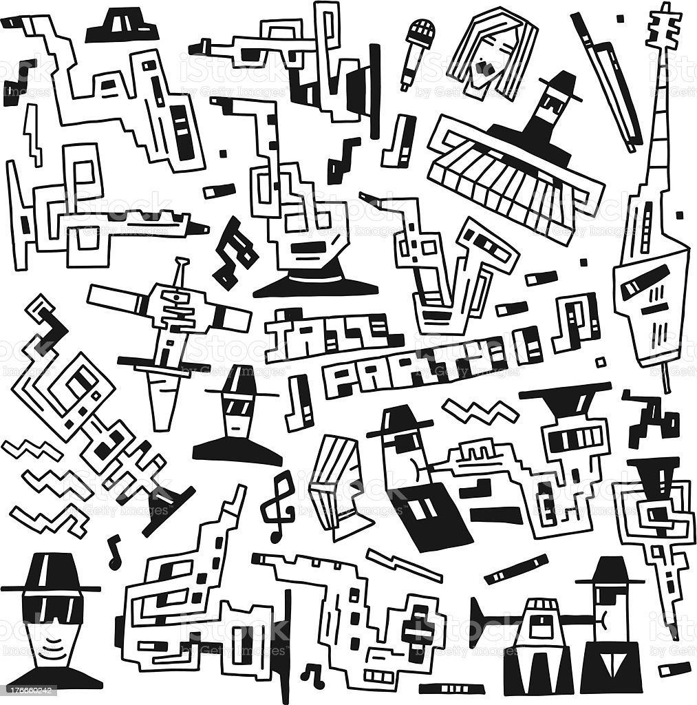 jazz party - doodles royalty-free stock vector art