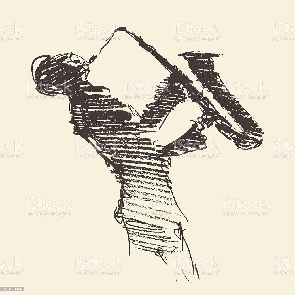 Jazz poster Man playing saxophone drawn sketch vector art illustration