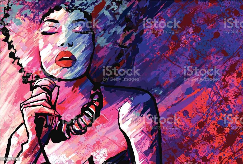 Jazz singer with microphone on grunge background vector art illustration