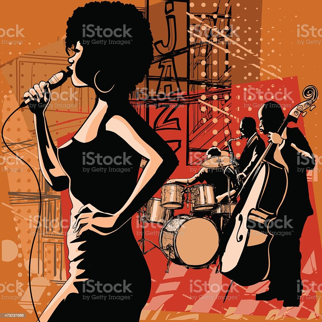 Jazz singer with saxophonist and double-bass player vector art illustration