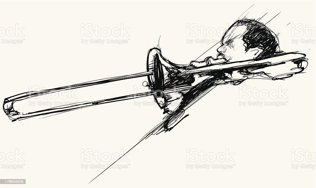 jazz trombone player vector art illustration