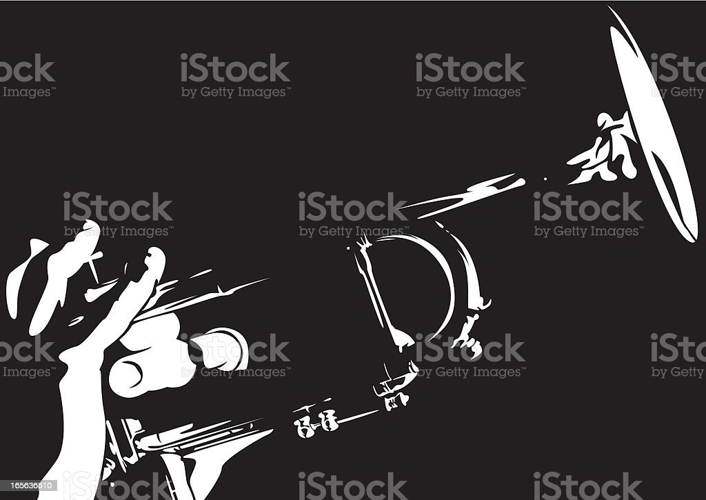 Jazz Trumpet in Silhouette royalty-free stock vector art