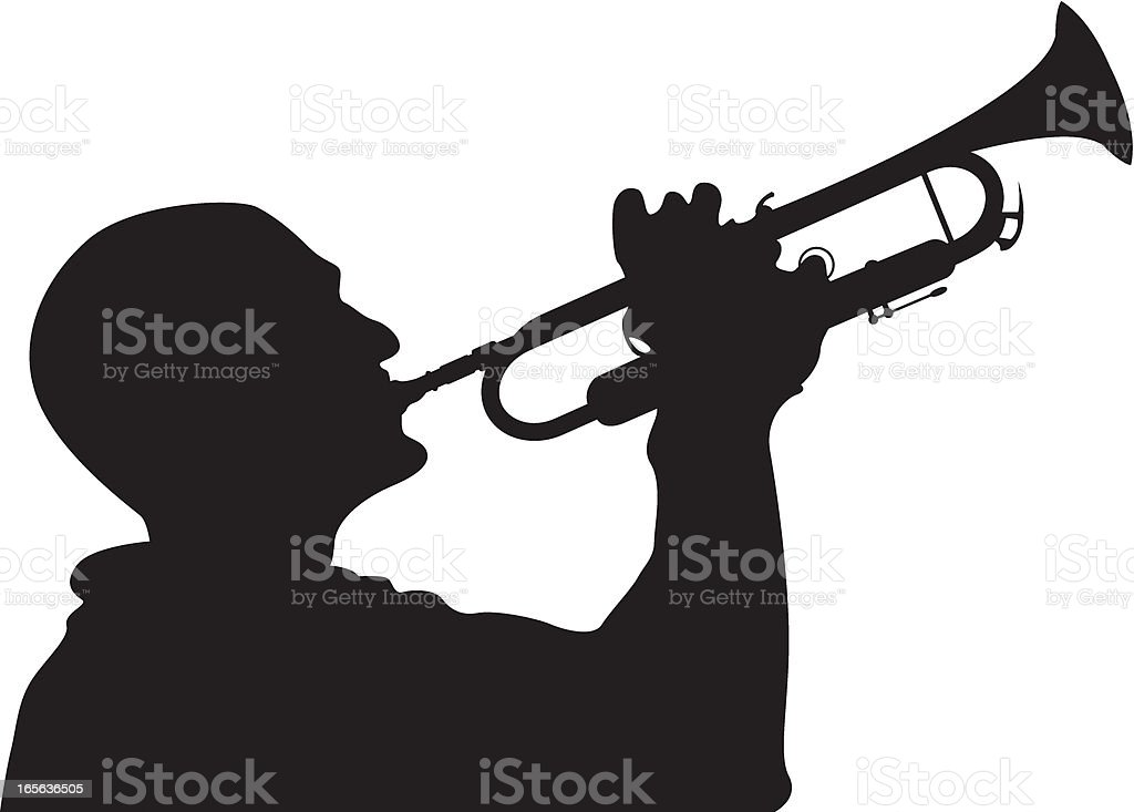 Jazz Trumpet Player in Silhouette royalty-free stock vector art